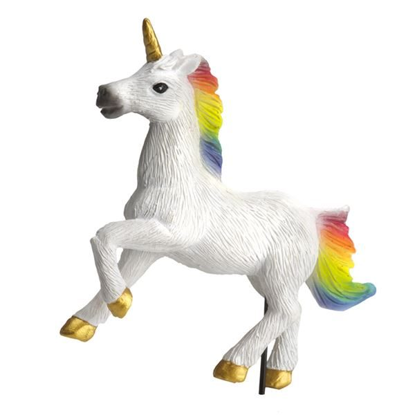 Rainbow unicorn fairy garden accessory by Fiddlehead Fairy Gardens