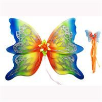 Fairy Wings- Rainbow Stripes with matching fairy wand. Our largest fairy wings.
