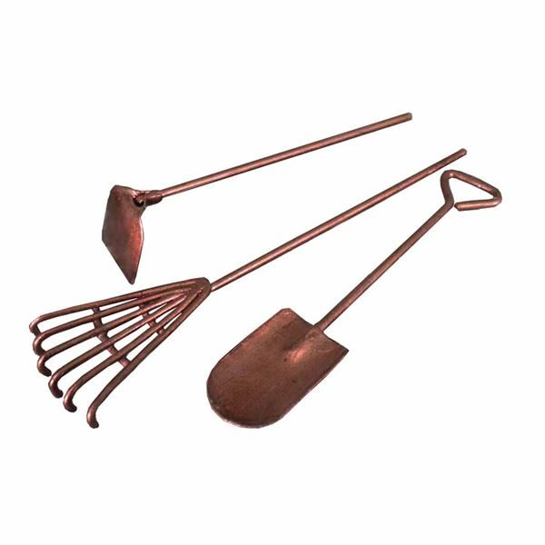 Fiddlehead Tool Set for fairy gardens. Copper painted steel.