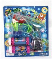 Battery powered bubble gun with spare refill and batteries