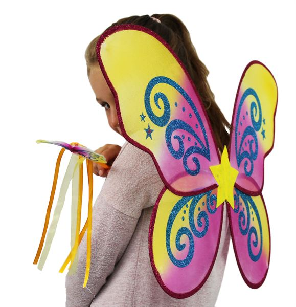 butterfly wings and wand set- gold star