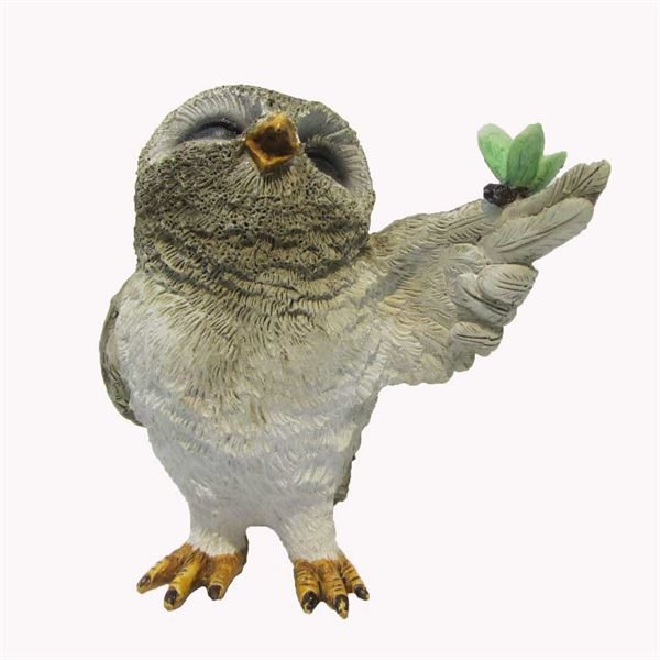 Fairy Garden Figurine- Owl With Butterfly (Fiddlehead)