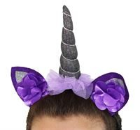 unicorn headdress- silver and black