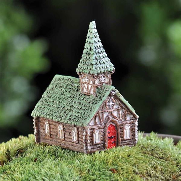 6cm high resin church ornament for use in a miniature fairy garden