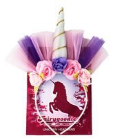silver unicorn headband with gold highlights, decorated with coloured net and roses
