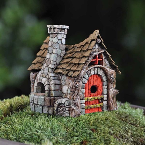 7cm high resin bakery fairy house for use as part of a fairy garden