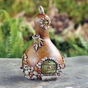 8cm high fairy garden house in the shape of a gourd. Finely detailed ornament for indoor or outdoor use.