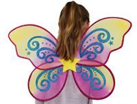 butterfly wings and wand set in gold and red star pattern